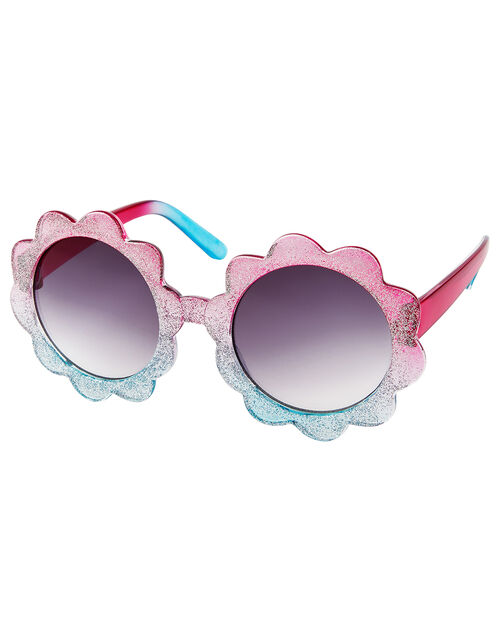 Ombre Glitter Sunglasses and Case Set, , large