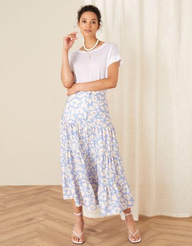 Animal Print Tiered Skirt Blue, Blue (BLUE), large