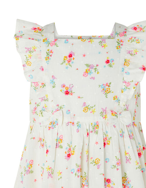 Baby Kaia Floral Dress in Organic Cotton, Ivory (IVORY), large