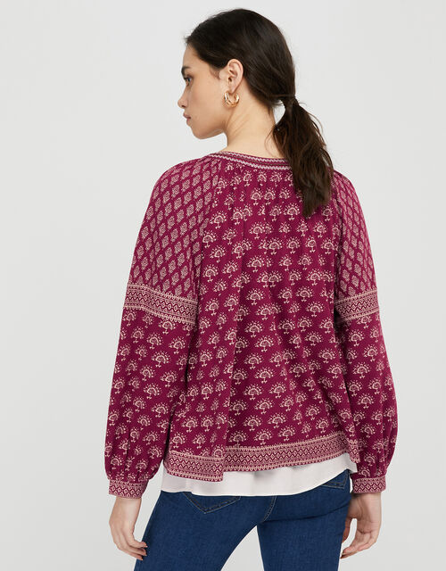 Heshna Floral Tassel Cover-Up, Red (BERRY), large