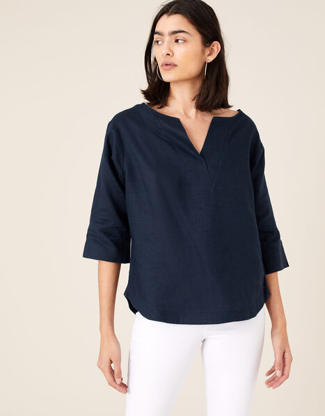Daisy Plain T-Shirt in Pure Linen Blue, Blue (NAVY), large
