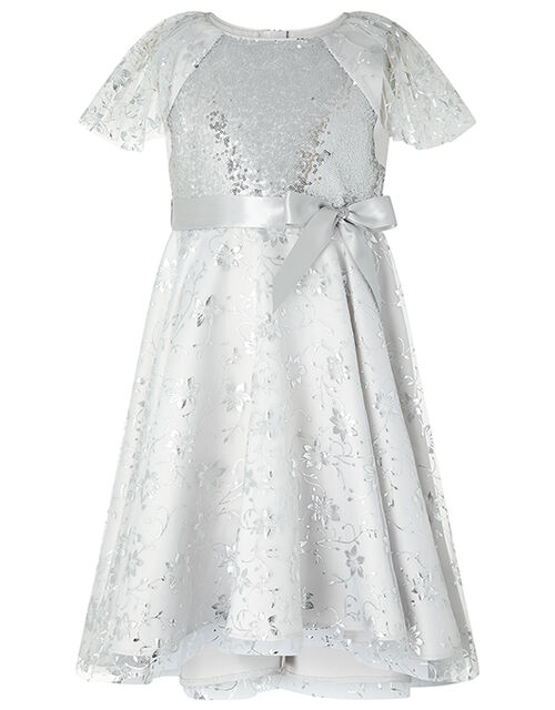Millie Sequin Party Dress, Silver (SILVER), large