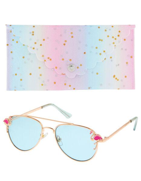 Flamingo Aviator Sunglasses with Case, , large