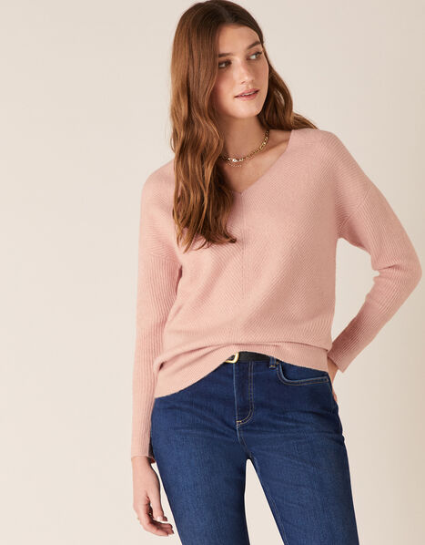 Georgina V-Neck Rib Knit Jumper Pink, Pink (PINK), large