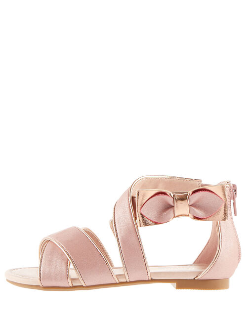 Shimmer Bow Strappy Sandals, Pink (PINK), large
