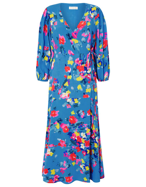 Ellie Floral Wrap Dress in Sustainable Viscose, Blue (TURQUOISE), large