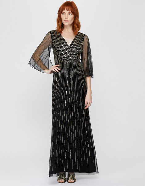Lizzie Linear Embellished Maxi Dress Black, Black (BLACK), large