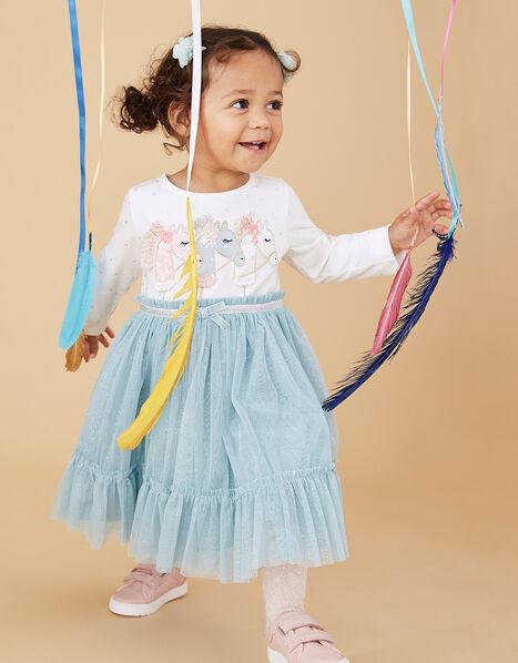 Baby Unicorn Disco Dress Teal, Teal (TEAL), large