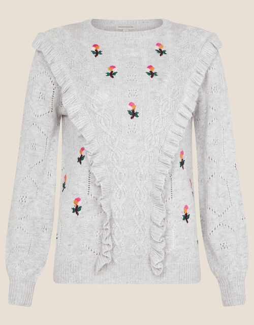 Embroidered Ruffle Jumper, Grey (GREY MARL), large