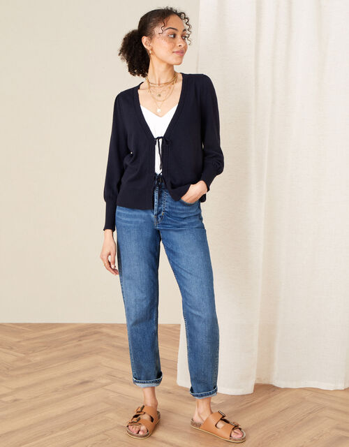 Tie Front Cardigan, Blue (NAVY), large