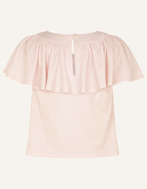 Shimmer Flutter Sleeve Jersey Top, Silver (SILVER), large