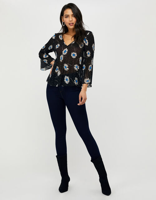 Daniella Daisy Print Top, Black (BLACK), large