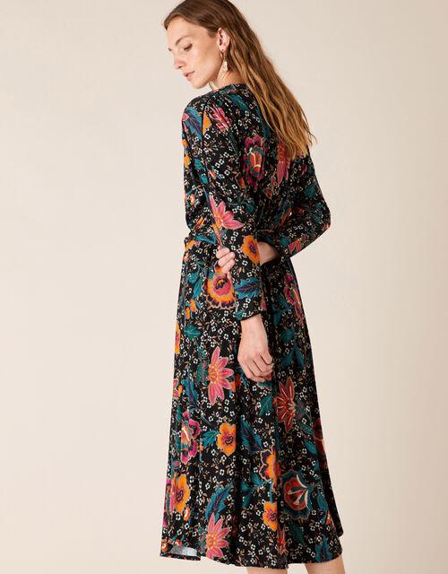 Floral Print Velvet Trim Midi Dress, Green (GREEN), large