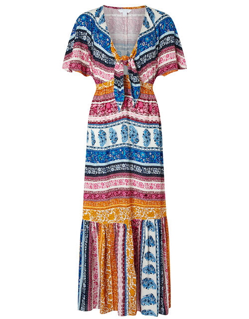 Rupert Striped Floral Maxi Dress in LENZING™ ECOVERO™, Blue (BLUE), large