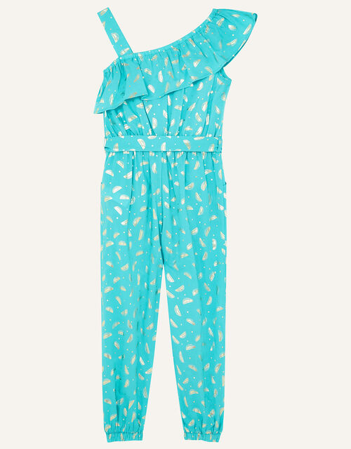 Watermelon Foil Jumpsuit in Organic Cotton , Green (GREEN), large