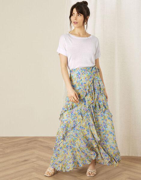 Helen Dealtry Louis Floral Wrap Skirt Blue, Blue (BLUE), large