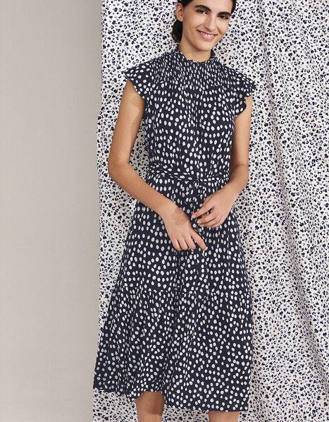 Serenity Spot Print Jersey Midi Dress Blue, Blue (NAVY), large