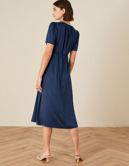 Embroidered Placement Jacquard Dress , Blue (NAVY), large