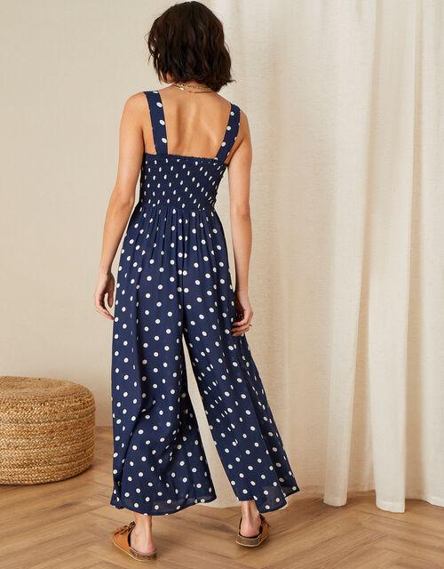 Hector Polka Dot Jumpsuit, Blue (NAVY), large