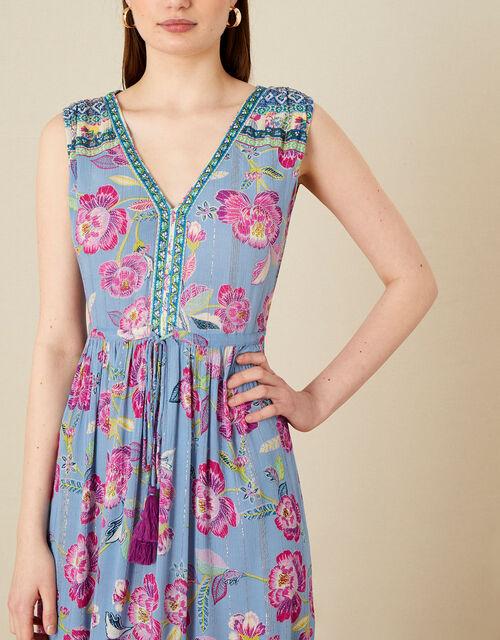 Kitty Floral Midi Dress, Blue (BLUE), large