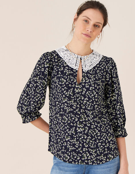 Lace Collar Ditsy Floral Top Blue, Blue (NAVY), large