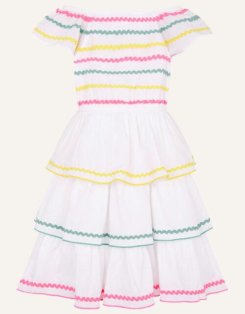 Fiesta Ricrac Dress in Organic Cotton, Ivory (IVORY), large