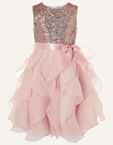 Cancan Sequin Ruffle Dress  Pink, Pink (PINK), large