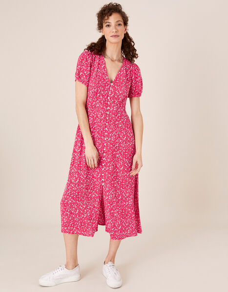 Printed Tea Dress in Sustainable Viscose Pink, Pink (PINK), large
