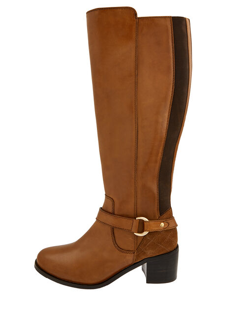 Edie Long Leather Boots, Mocha, large