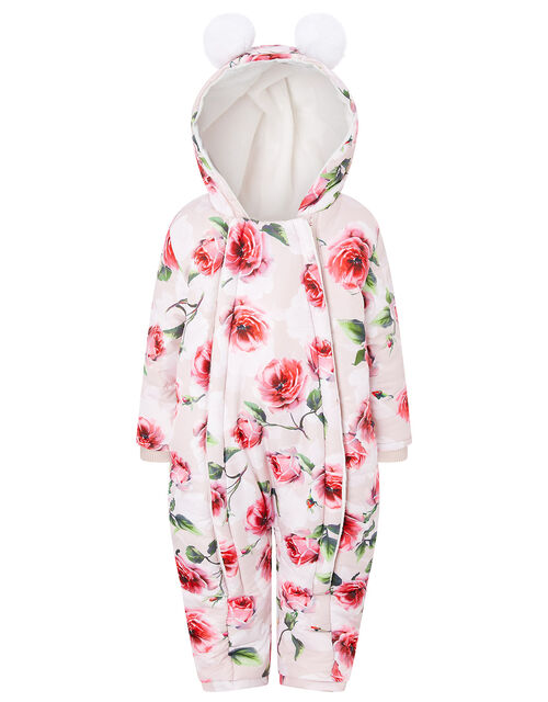 Baby Rose Print Hooded Snowsuit, Pink (PINK), large