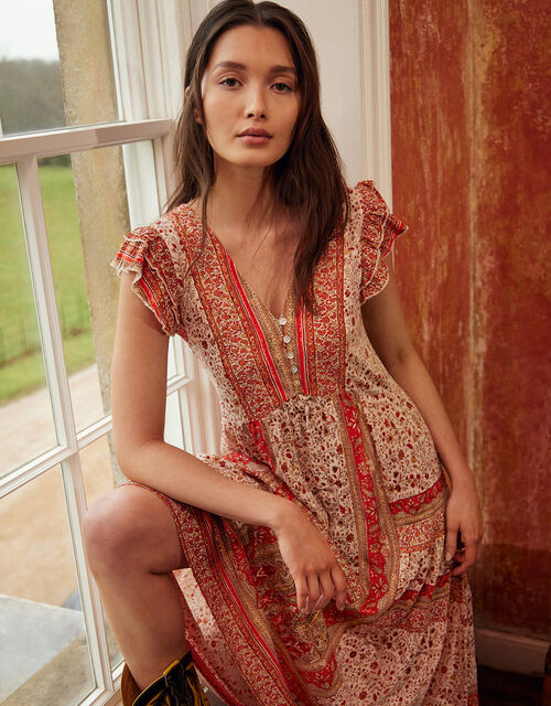 Heli Heritage Print Jersey Midi Dress, Orange (ORANGE), large
