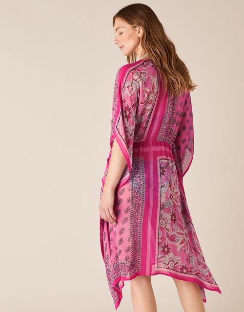 Mixed Print Kaftan in Sustainable Viscose, Pink (PINK), large