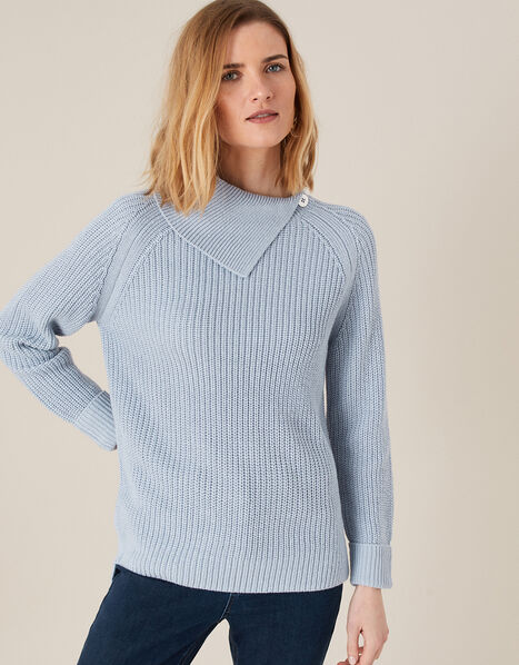 Split Neck Knit Jumper Blue, Blue (BLUE), large