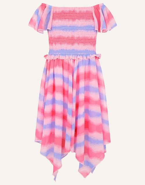Tie Dye Shirred Dress, Pink (PALE PINK), large