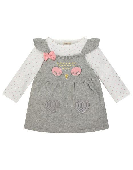 Newborn Baby Owl Knit Dress and Top Set Grey, Grey (GREY), large