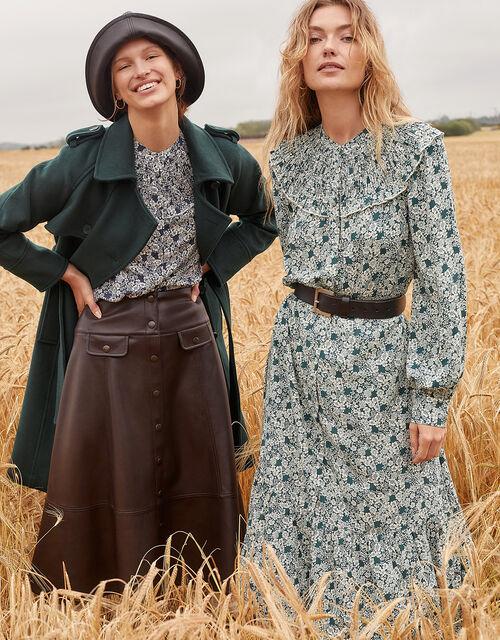 Leather-Look Midi Skirt, Brown (CHOCOLATE), large