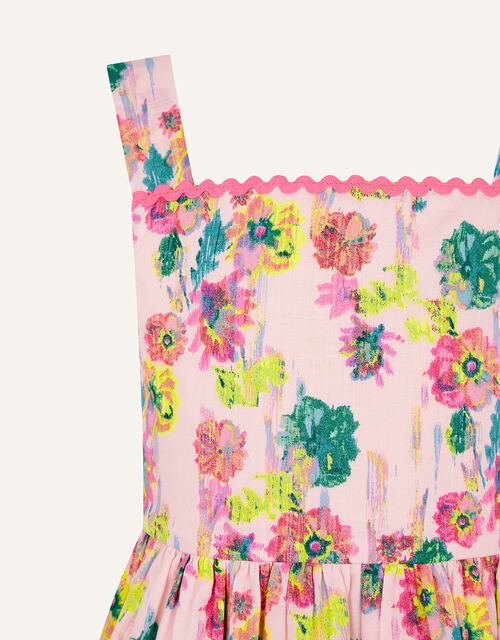 Painterly Floral Dress in Organic Cotton , Pink (PALE PINK), large
