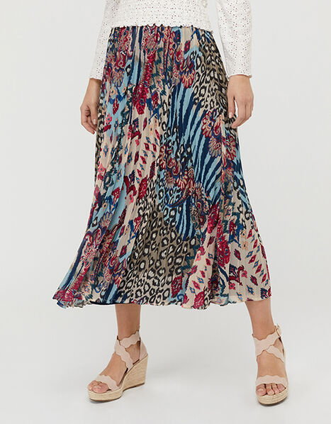 Mercy Mixed Print Pleated Skirt Blue, Blue (BLUE), large