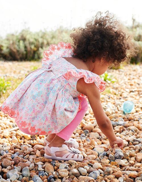 Baby Ditsy Neon Top and Leggings Set , Blue (AQUA), large