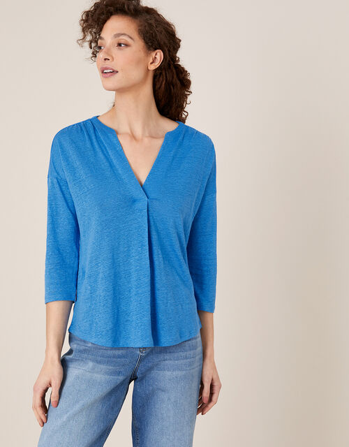 Split Long Sleeve Top in Pure Linen, Blue (BLUE), large