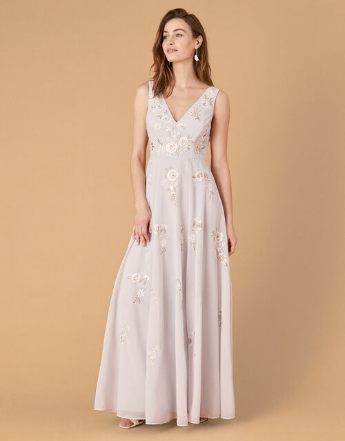 Addison Floral Embroidered Maxi Dress, Blue (BLUE), large