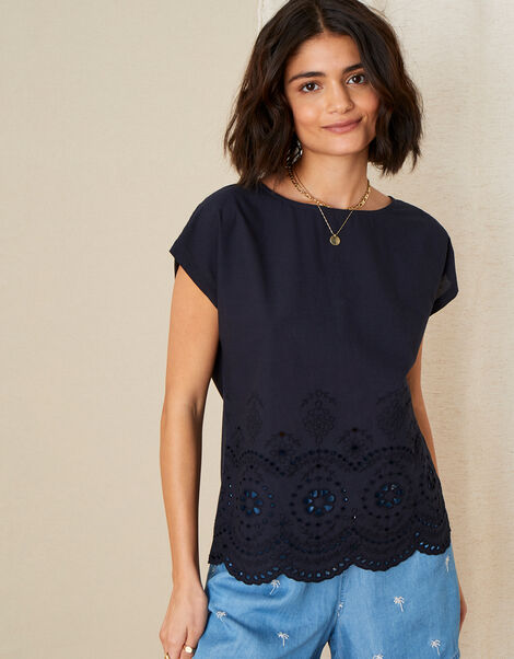 Lila Woven Front Tee in Organic Cotton  Blue, Blue (NAVY), large
