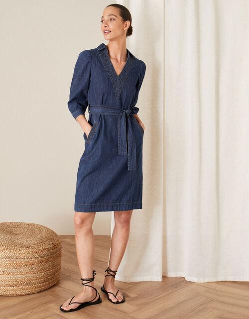 Belted Denim Dress, Blue (DENIM BLUE), large