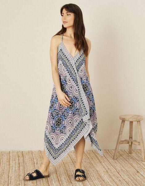 Geo Print Hanky Hem Dress Blue, Blue (BLUE), large