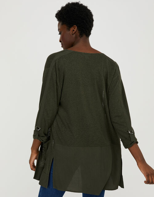 Carrie Woven Cardigan in Linen Blend, Green (KHAKI), large