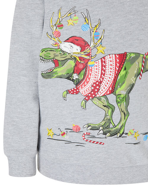 XMAS Dinosaur Sweatshirt, Grey (GREY), large