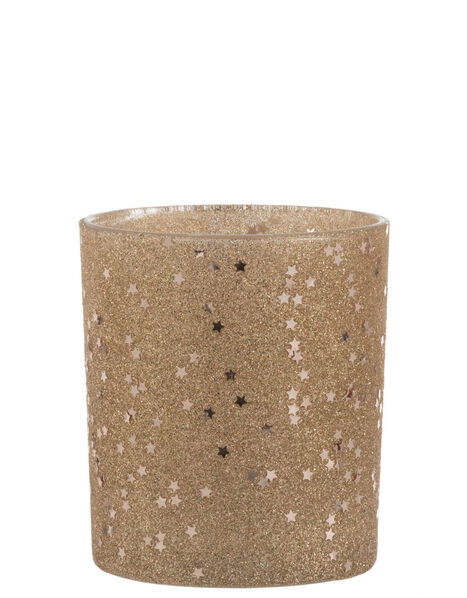 Star and Glitter Tealight Holder Gold, Gold (GOLD), large