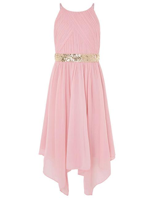 Chiffon Hanky Hem Prom Dress, Pink (DUSKY PINK), large