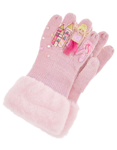 Princess Ballerina Knit Gloves, Pink (PALE PINK), large