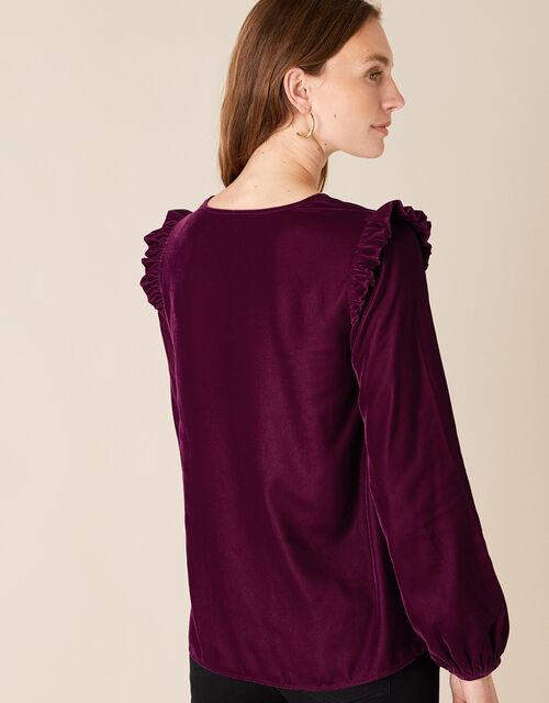 Velvet Ruffle Trim Top, Purple (PLUM), large